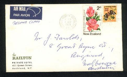 1971 The Railton private hotel cover, George courts cancel