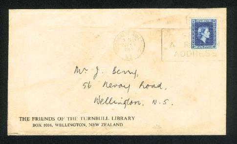 1965 Library Turnbull cover with official QE II 4d stamp