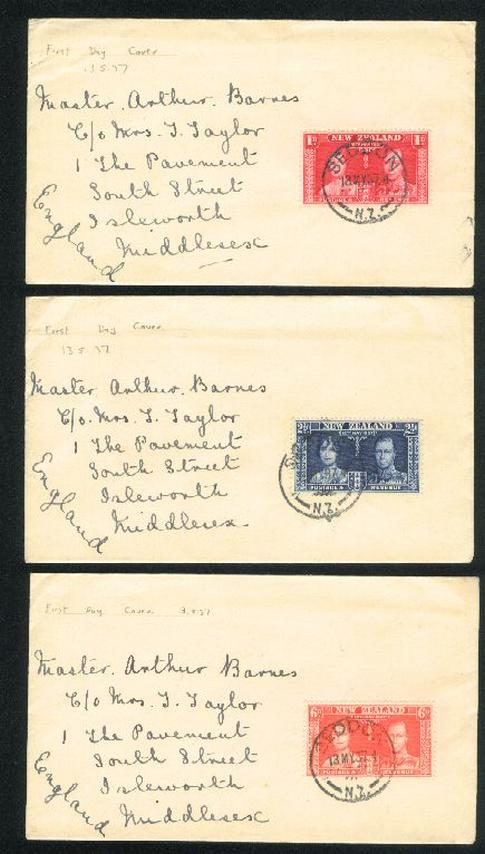 1937 Coronation plain 3 fdc , Seddon cancel to England