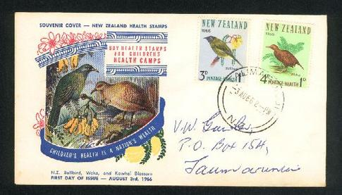 1966 Bird health fdc, Taumarunui cancel