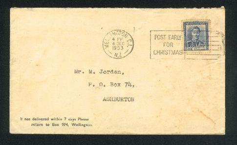 1953 Post early for Christmas cover KG VI 3d stamp