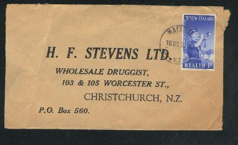 1958 Boys brigade stamps on drug cover, Mataura cancel