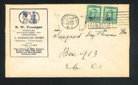 1938 Furniture manufacturer envelope, KG VI pair stamps