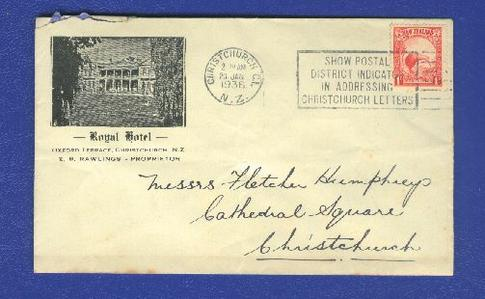 1936 Royal Hotel Oxford terrace cover, Kiwi stamp