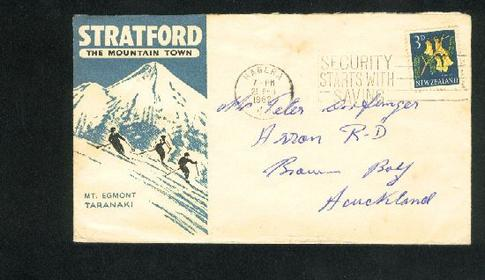 1962 Mount Egmont skiing cover, Mountain snow. flower stamp