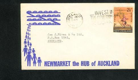 1967 Health rugby stamp on Hub of Auckland