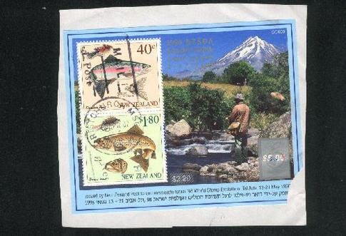 1998 NZSDA stamp show Christchurch fish trout m/s, has damage bottom right