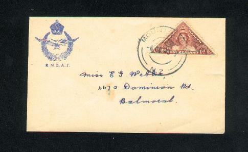 1943 R N Z A F cover with triangle health stamp , Mount  Eden