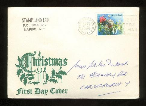 1989 Flower stamp on a christmas cover