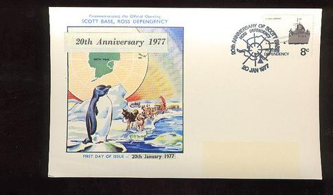 1977 Scott Base 20th anniversary card, Edmund Hillary     dogs