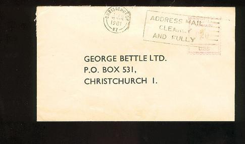 1981 Chemists George Bettle Ltd cover, Christchurch