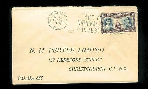 1941 N.M. Peryer Limited address envelope, Captain Cook 2d stamp