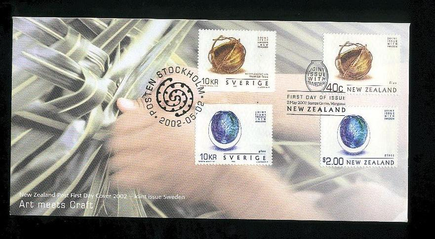 2002 Arts meets craft fdc New Zealand and Sweden