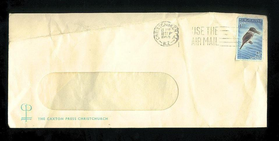 1960 Caxton Press Christchurch envelope, health bird stamp