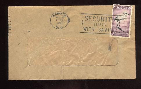 1961 Security starts with saving envelope, Waimate
