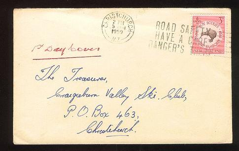 1959 Scout fdc Christchurch,Craigieburn Valley ski club