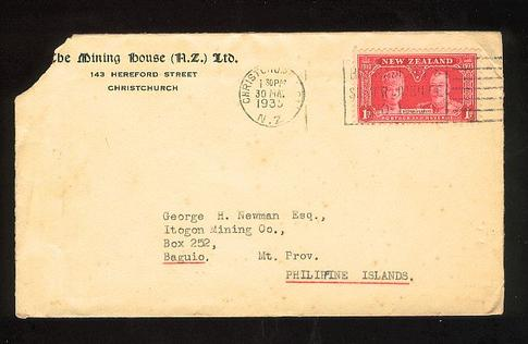 1935 The Mining House envelope 30 May to Mining Co Philippine Island