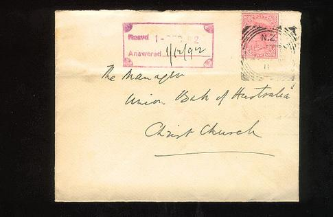 1892 Square cancel Christchurch 29 No 1d cover