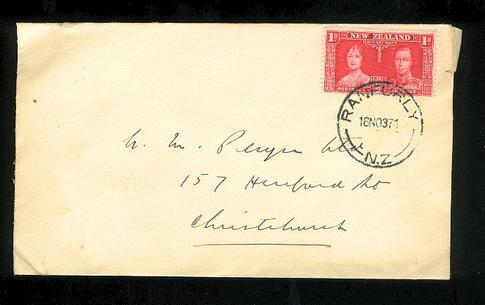 1937 KG VI cover Ranfurly