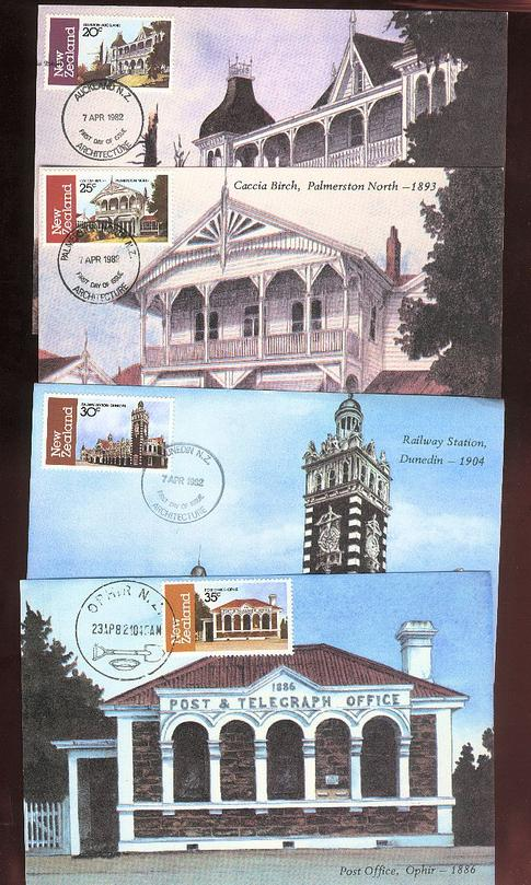 1982 Architecture cards, Post Office, Railway Station ,
