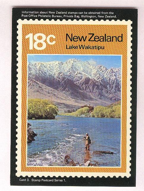 1972 Lakes scenes, Lake Wakatipu 18c fishing