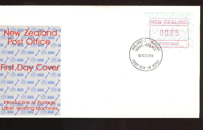 1986 Postage label 25c fdc 12 Feb