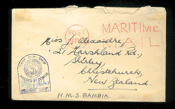 1942 Area, Post Office maritime mail , censor from H M S Gambia
