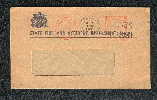 1962 State Fire And Accident Insurance Office envelope, It Pays To Save
