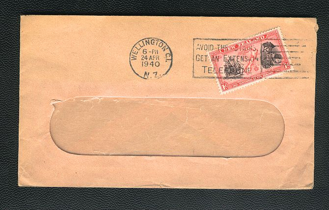 1940 Captain Cook stamp,  AVOID THE STAIRS GET AN EXTENSION TELEPHONE