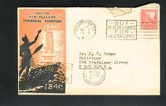 1939 CENTENNIAL EXIBITION WELLINGTON cover, BUY HEALTH STAMPS FOR HEALTHS CAMPS