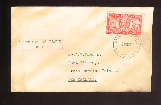 1936 Health fdc, Port Fitizroy cancel