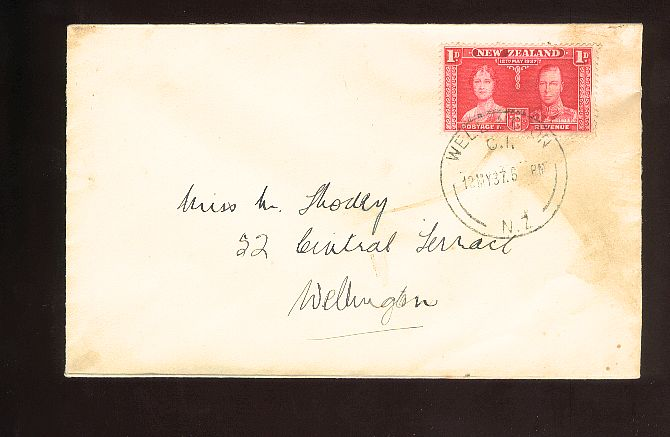 1937 Coronation 1d fdc, Wellington