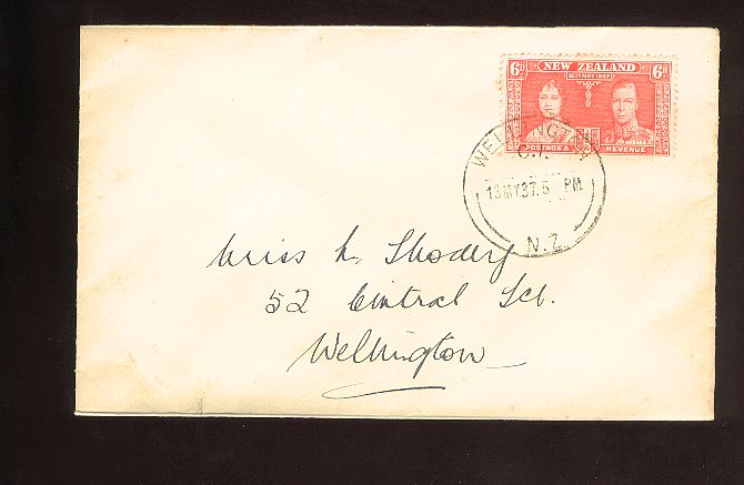 1937 Coronation 6d fdc, Wellington