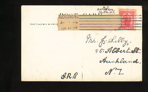 1907 Interesting tape on post card Sanatorium Gardens Rotorua