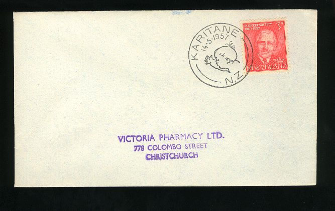 1957 Plunket Society fdc, Karitane cancel