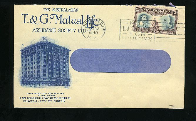 1940 Assurance society envelope, Captain Cook stamp, Health slogan