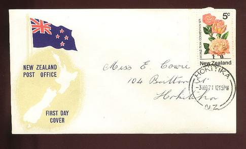 1971 Centenary 5c fdc, Hokitiki cancel