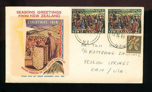 1964 Marsden First Christian service in New Zealand 1864, uprated cover. Boric cover