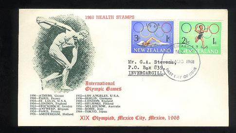 1968 Health Olympic games fdc, Invercargill cancel