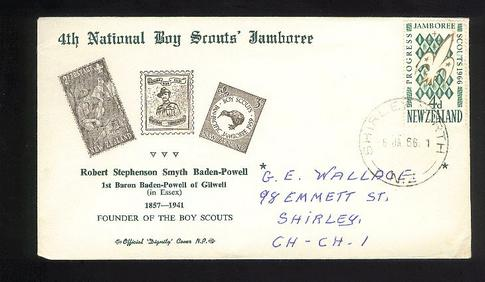 1966 Scout 4th Jamboree in Wellington fdc, Kiwi Robert Stephenson Baden Powell