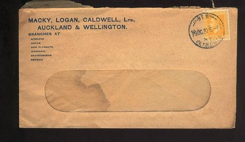 1920 KG V 2d adv cover, New Plymouth