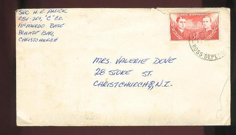 1960s Scot Base 3c cover to Christchurch