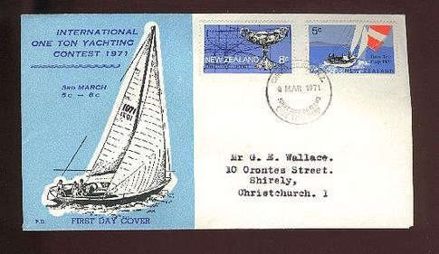 1971 Yacht fdc, Christchurch