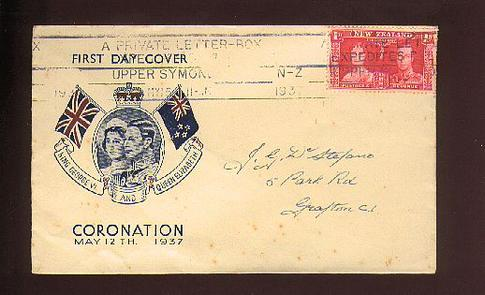 1937 Coronation cover, 15 May Upper Symond , nice slogan