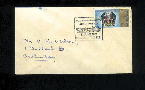 1971 Wellington to Greytown stage coach mail cover
