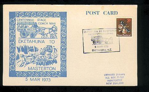 1973 Eketahuna to Masterton stage coach mail card