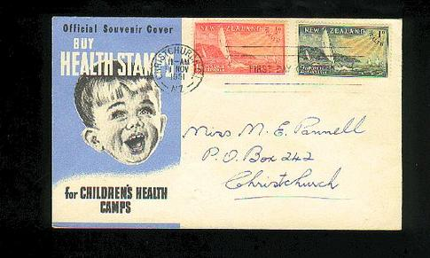 1951 Health fdc, Christchurch
