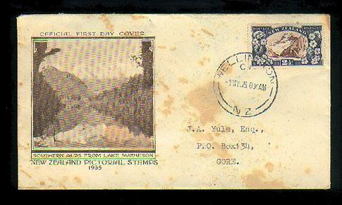 1935 Lake Matheson 2 1/2d fdc