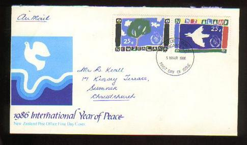1986 International year of peace fdc