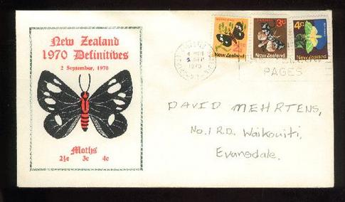 1970 Moth cover, date has been changed from 3 to 2 Sept  fdc